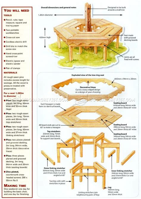 Wood Bench Around Tree Plans